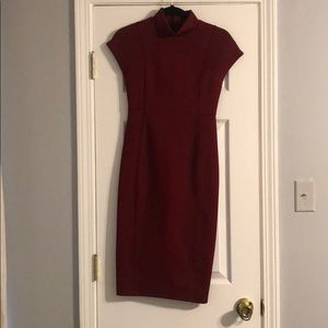 Zara small tight fitting wine colored dress